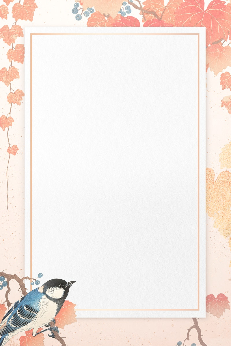 Great tit pattern with pink frame illustration