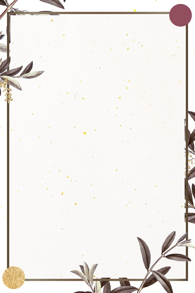 Frame with green olive branch pattern on beige background illustration