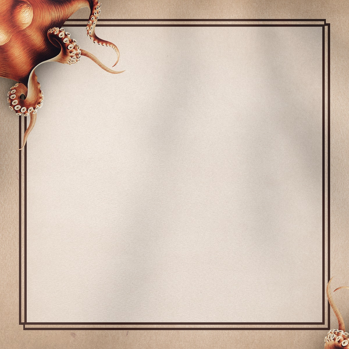 Hand drawn octopus pattern on a brown background illustration