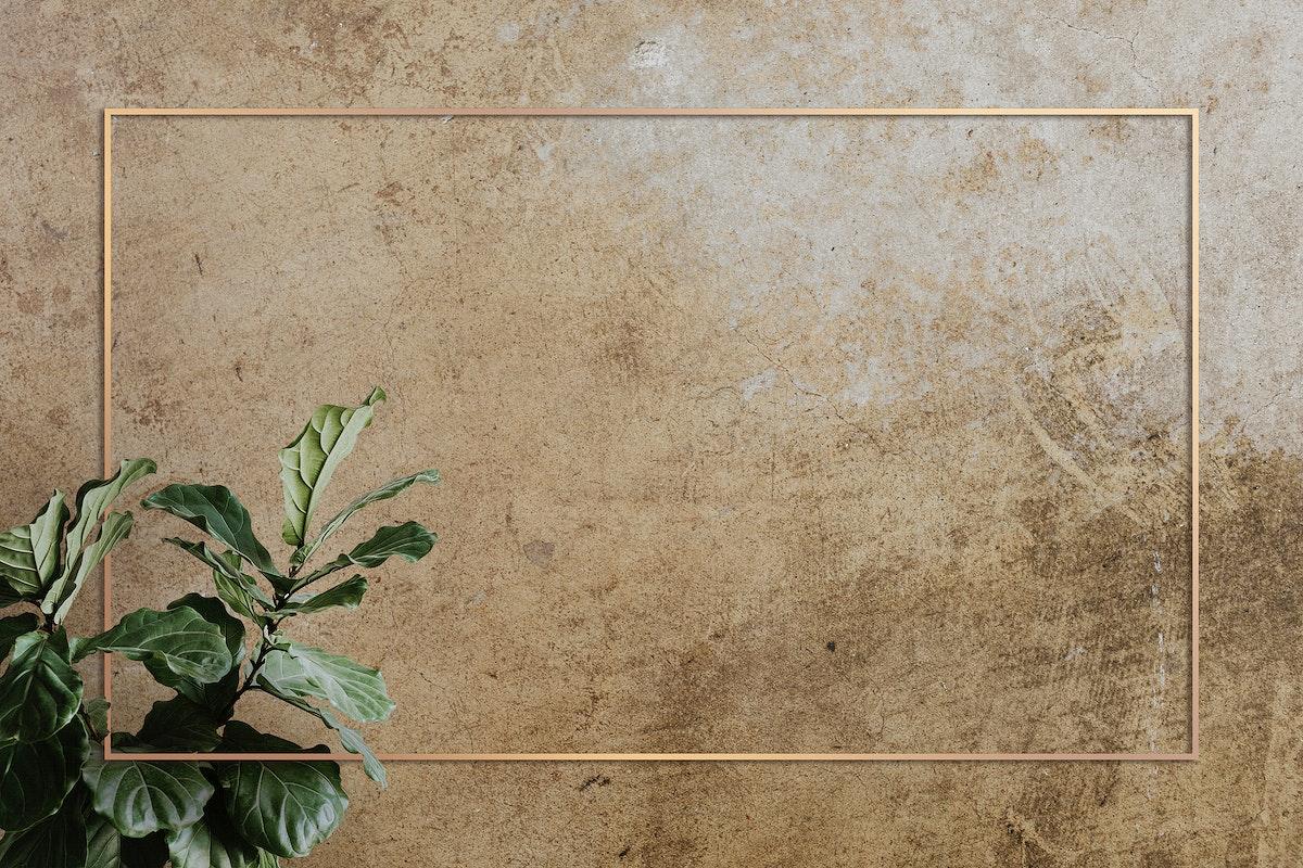 Gold frame decorated with a fiddle leaf fig plant mockup design