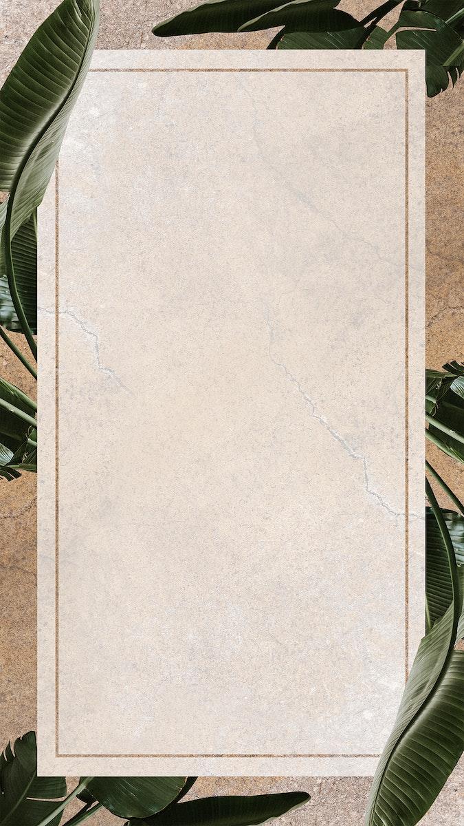 Vintage banana leaf patterned frame mobile screen wallpaper