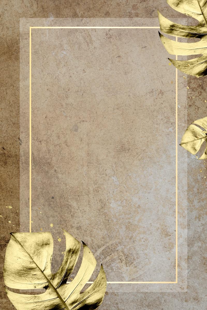 Golden Monstera leaves decorated frame mockup design
