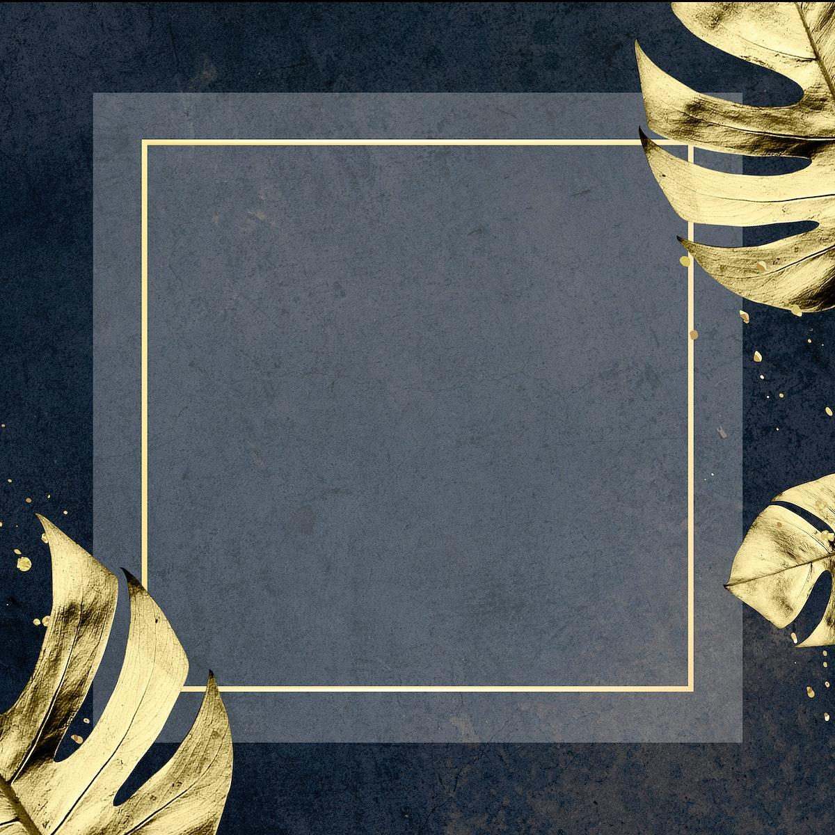 Golden Monstera leaves decorated blank frame