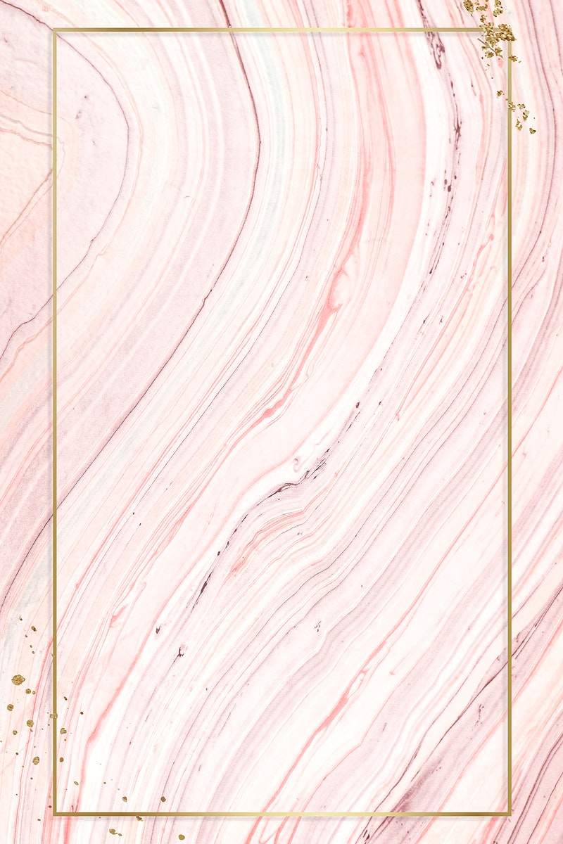Gold frame on a marbled acrylic paint background mockup design