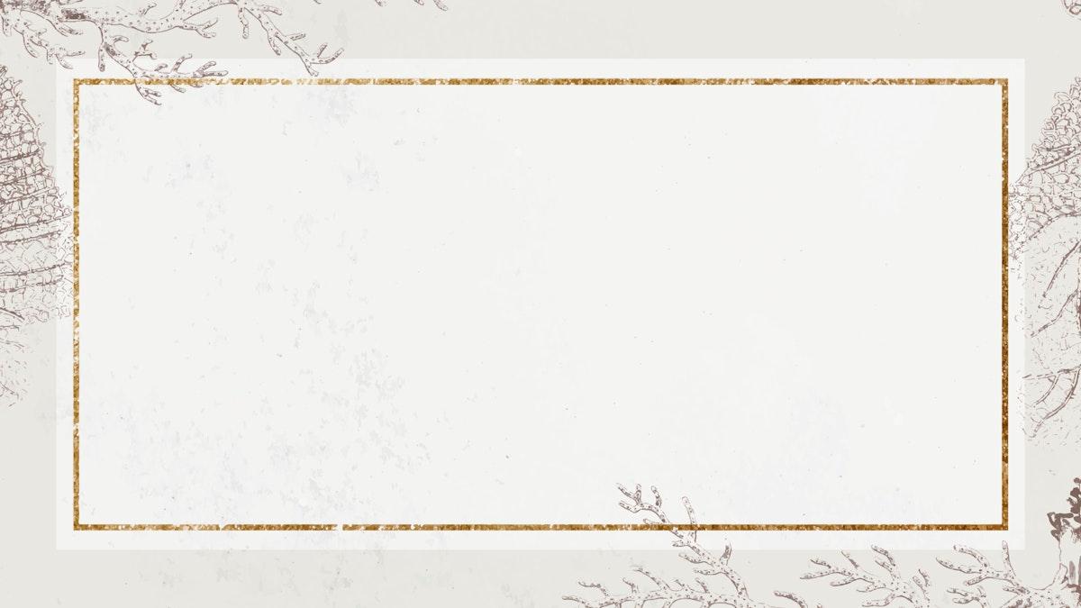 Blank golden coral rectangle frame vector