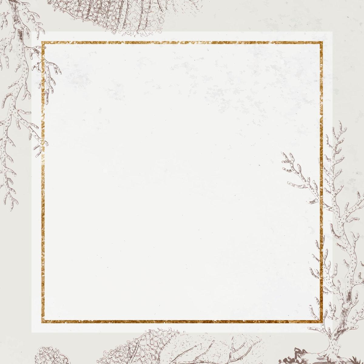 Golden square coral frame vector