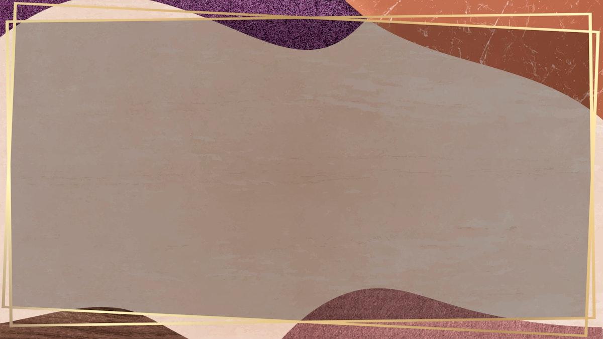 Gold frame on collage patterned background vector