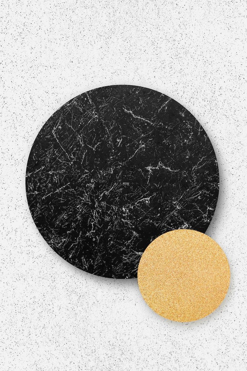 Black marble circle on white background illustration