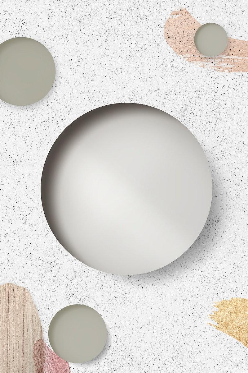 Circle on white marble background illustration