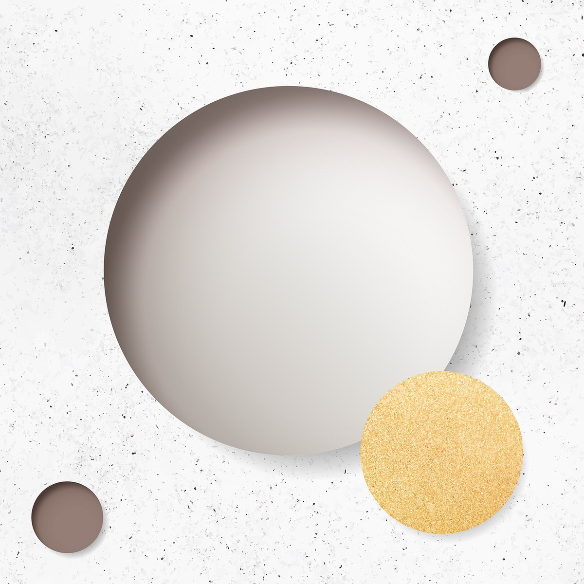 Beige circle on white marble background vector