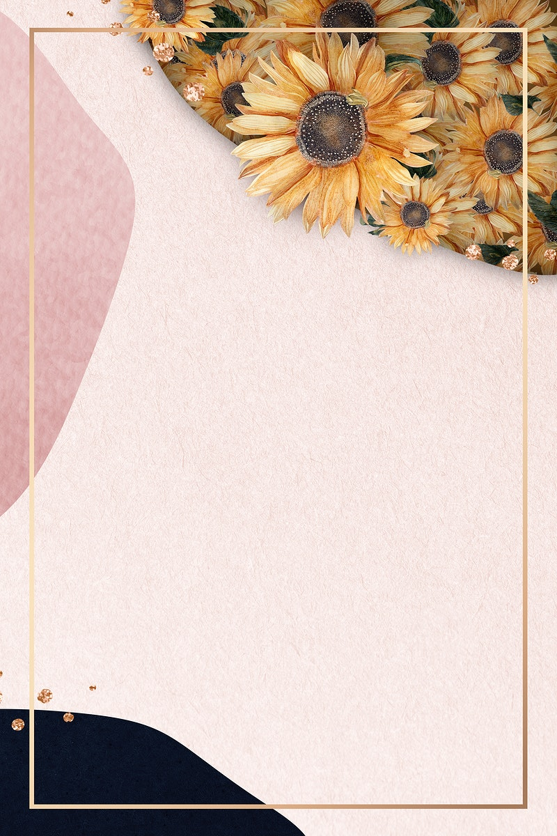 Gold frame on pink collage background with sunflowers patterned illustration