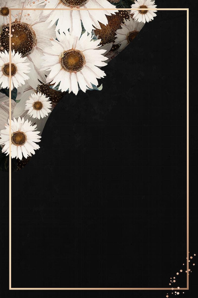 Gold frame on white flower patterned black background vector