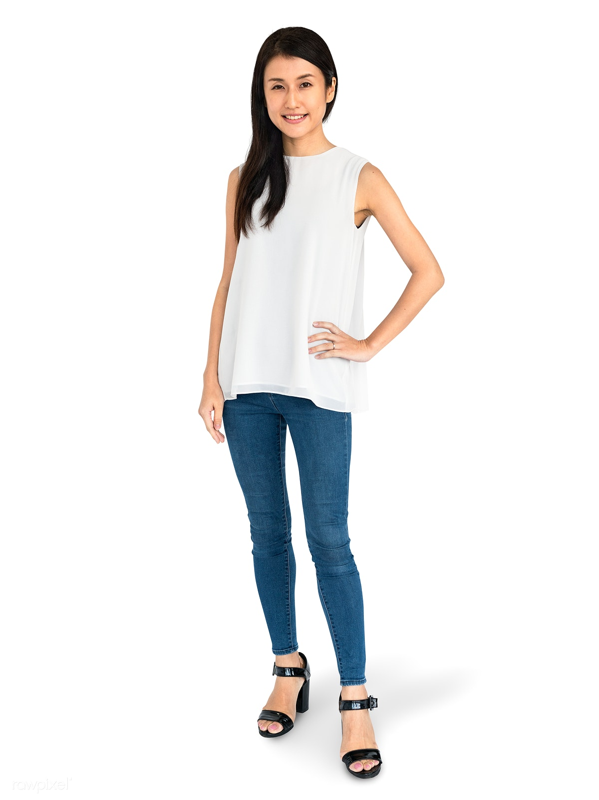 fe8dee3880 Cheerful Asian woman in jeans character isolated on a white background