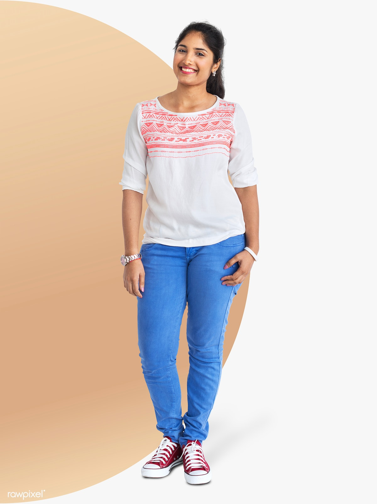 a8579e23 Cheerful Indian girl in jeans character isolated on a striped background