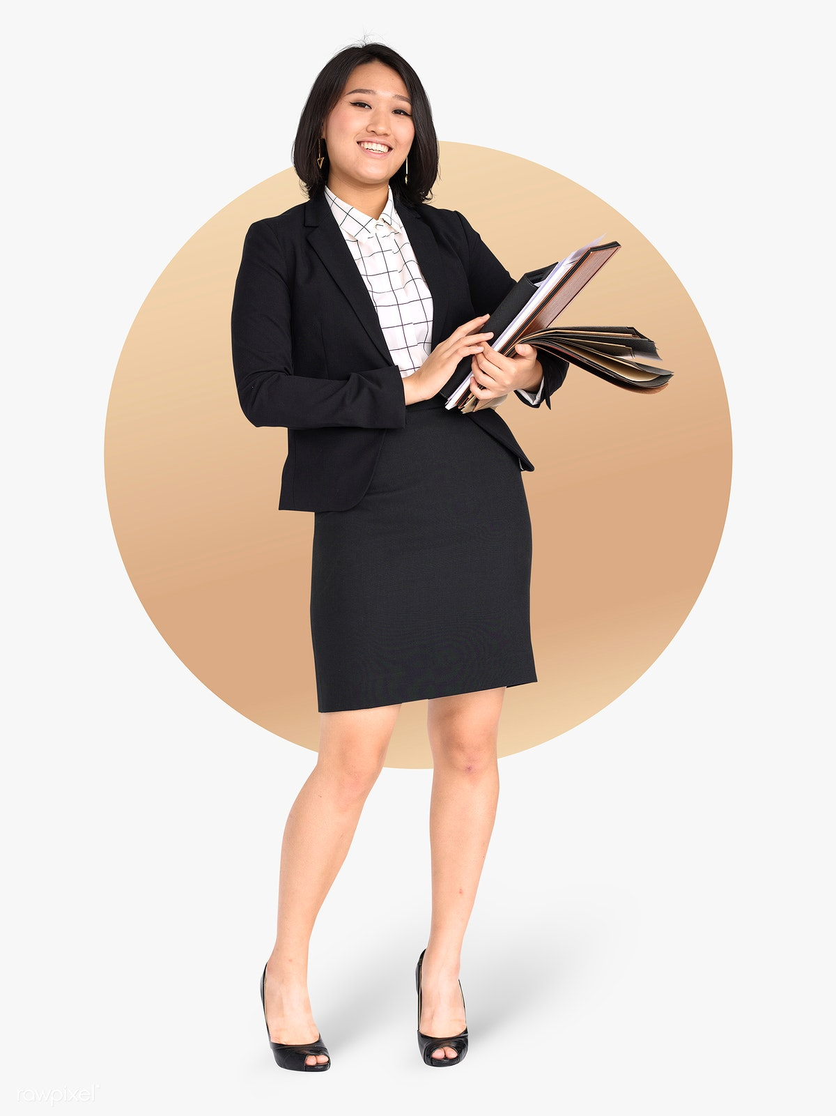 bd80b364 Asian businesswoman standing mockup | Royalty free stock psd mockup ...