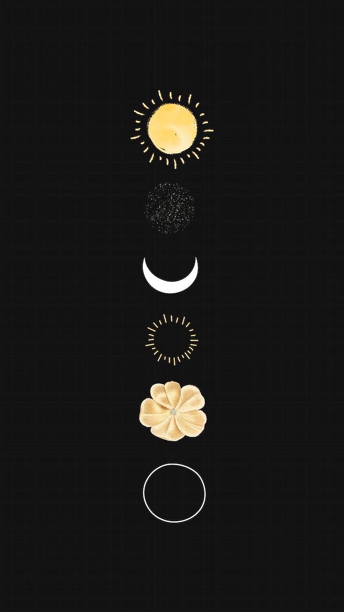 Floral galaxy design mobile phone wallpaper vector