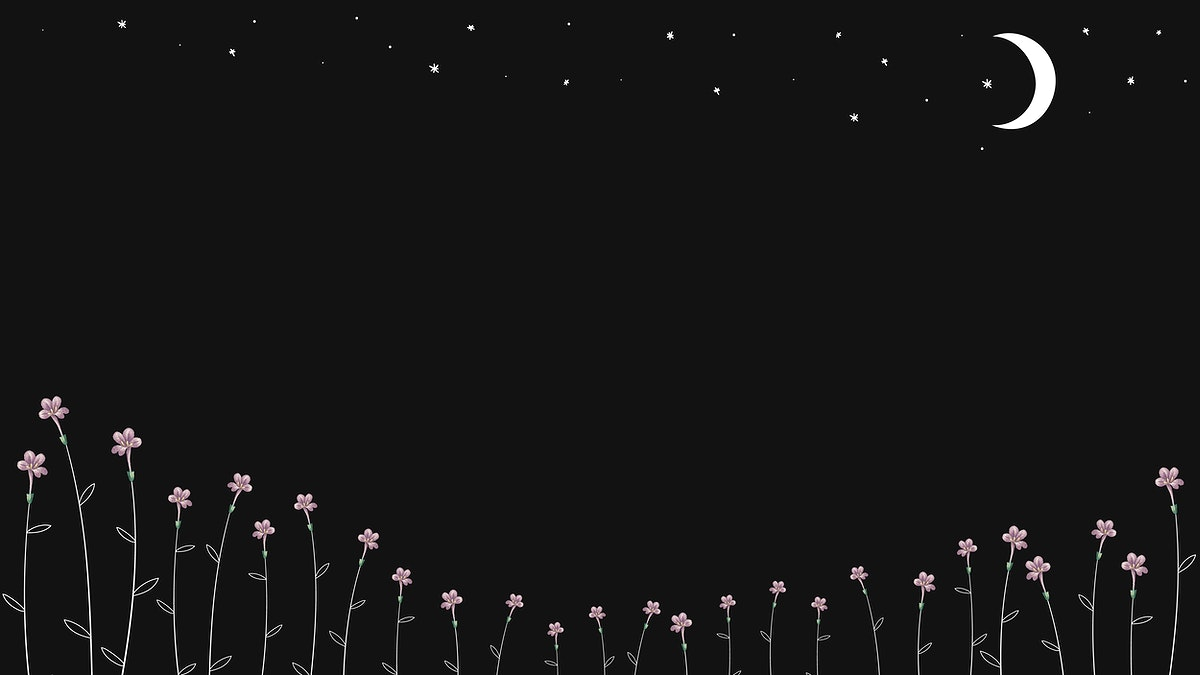 Minimal blooming flowers and the moon background