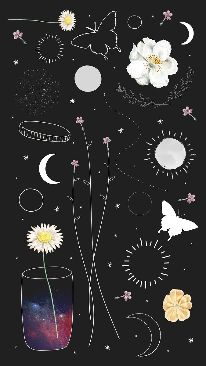 Minimal floral galaxy design mobile phone wallpaper vector set