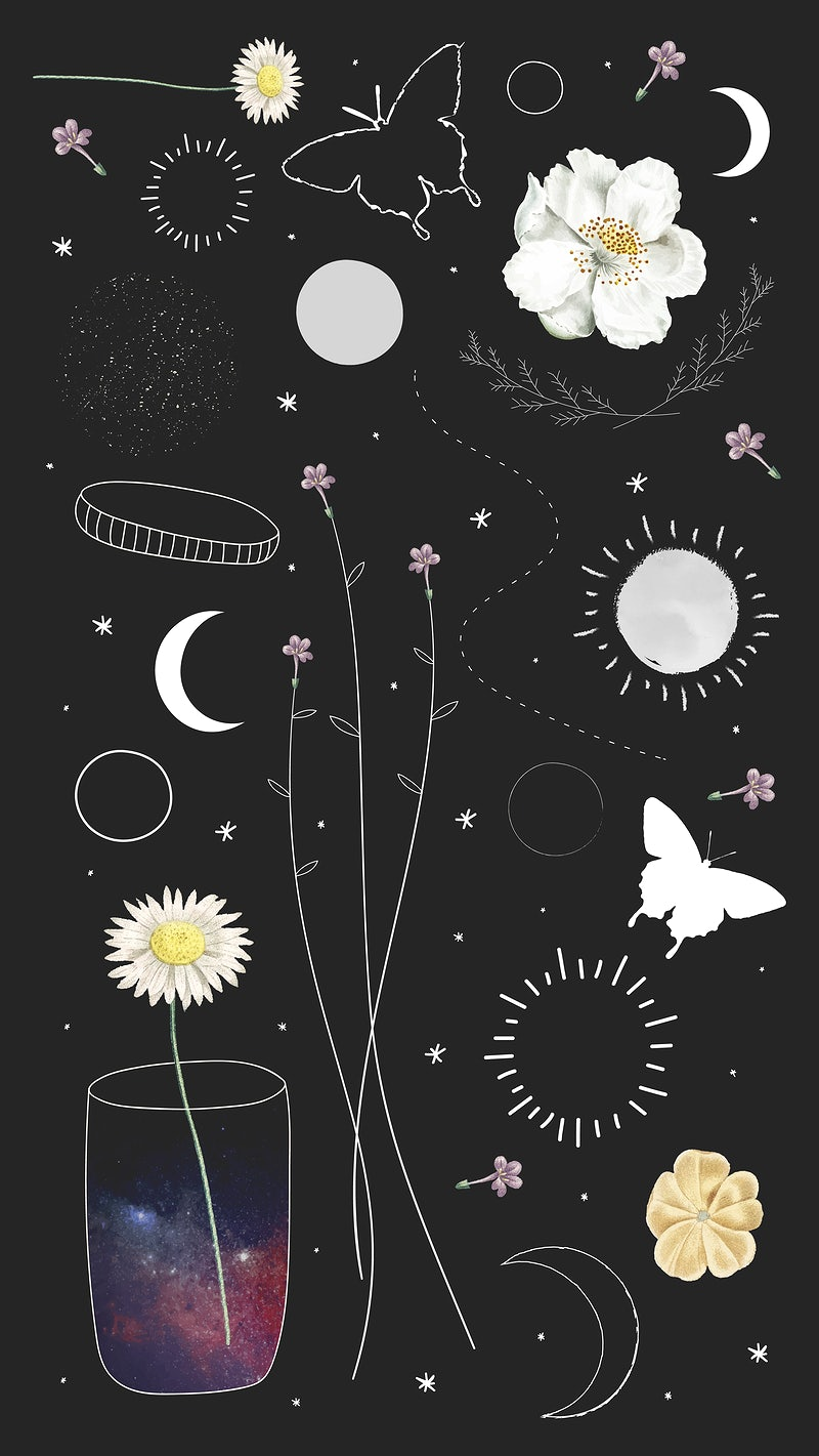 Blank floral and astronomical frame   Premium Vector   rawpixel