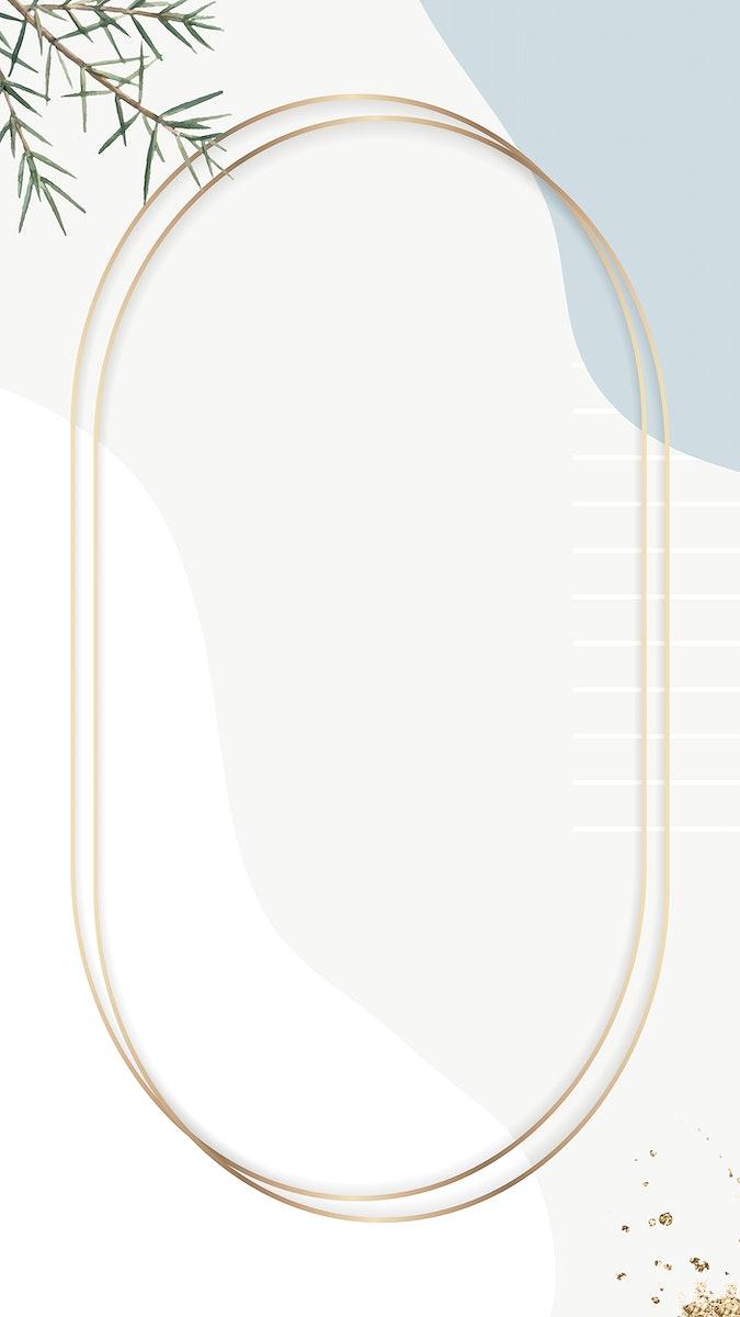 Oval gold frame on beige minimal patterned mobile phone wallpaper vector