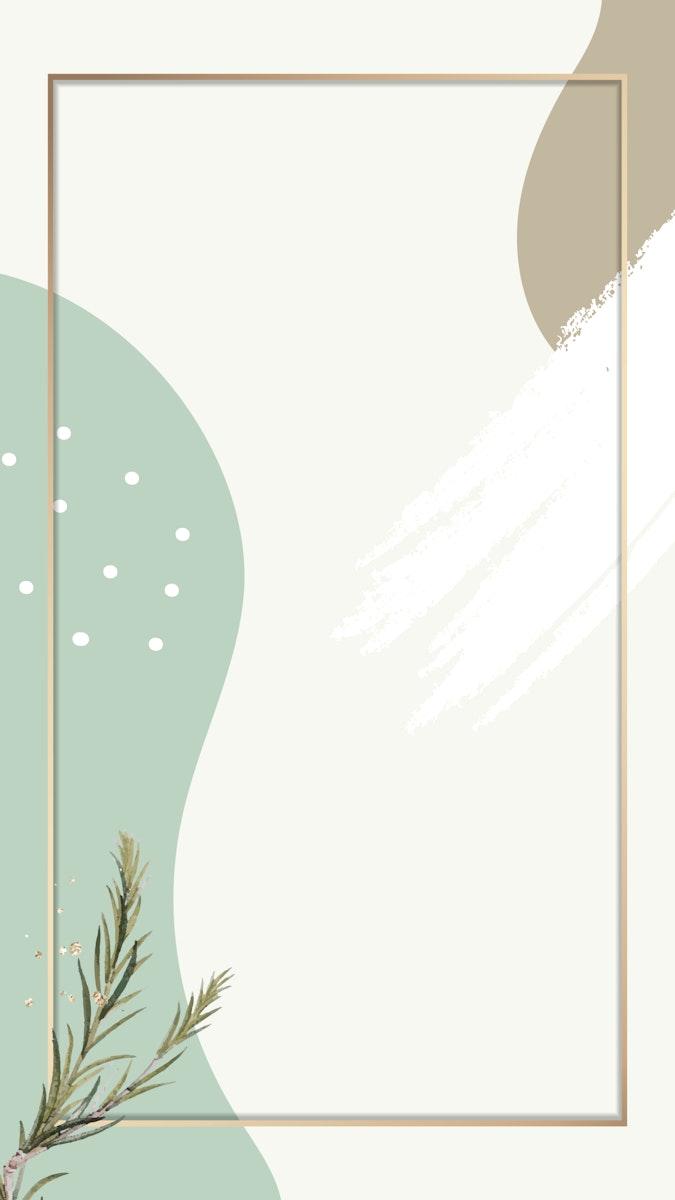 Rectangle gold frame on minimal patterned mobile phone wallpaper vector