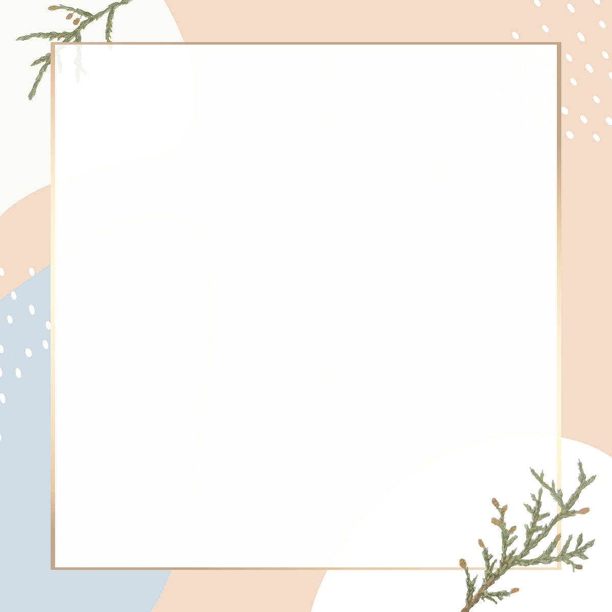 Square gold frame on minimal patterned background vector