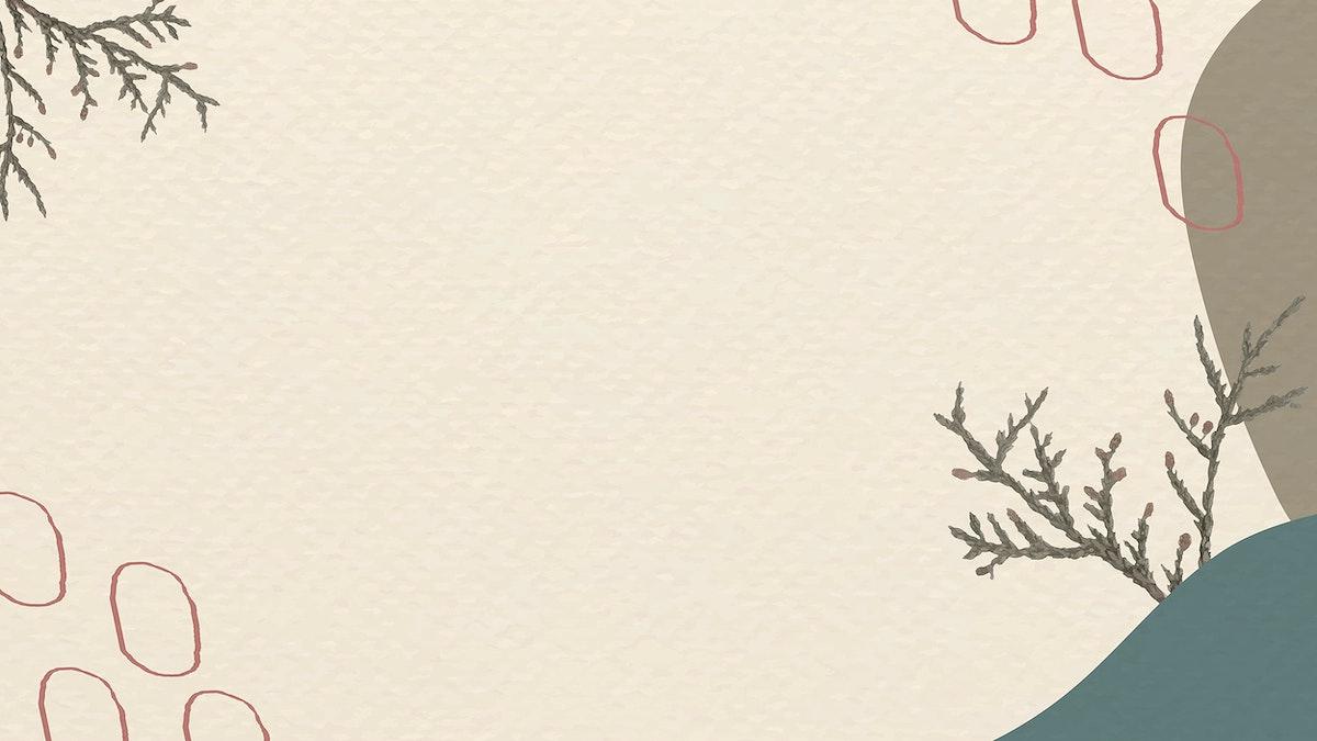 Cedar branch on minimal patterned background template vector