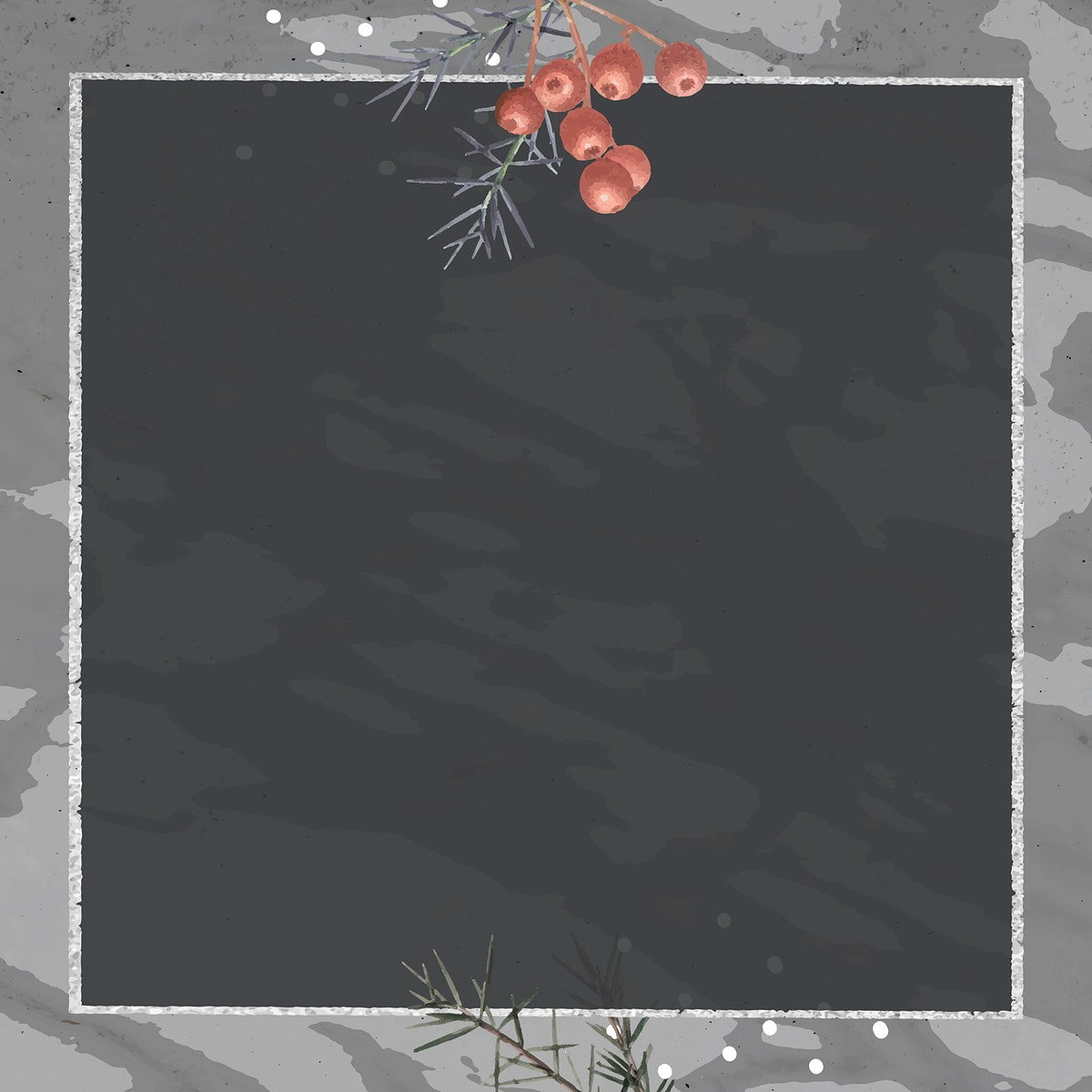 Square silver frame on minimal patterned background vector