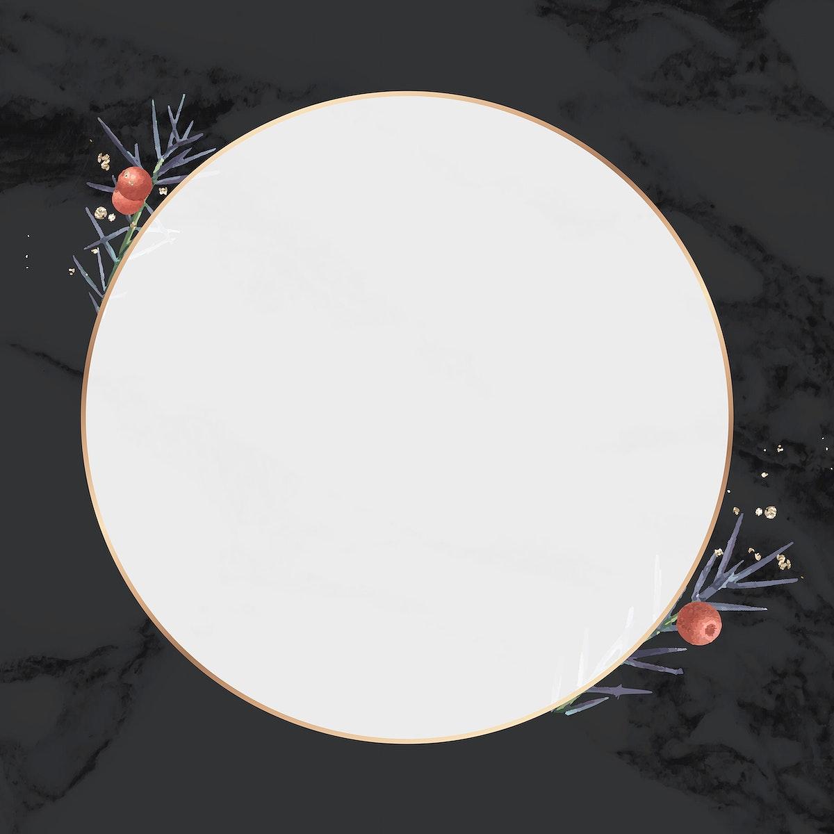 Round gold frame on minimal patterned background vector