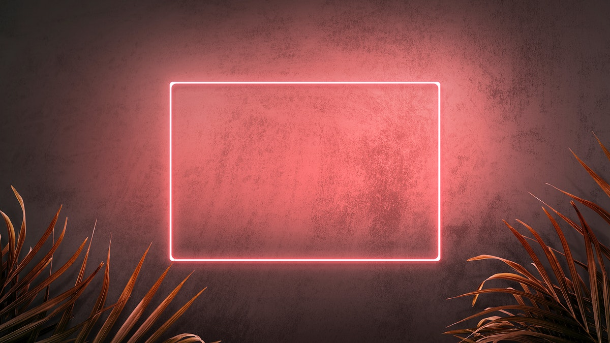 Pink neon frame on a wall with tropical plants mockup design