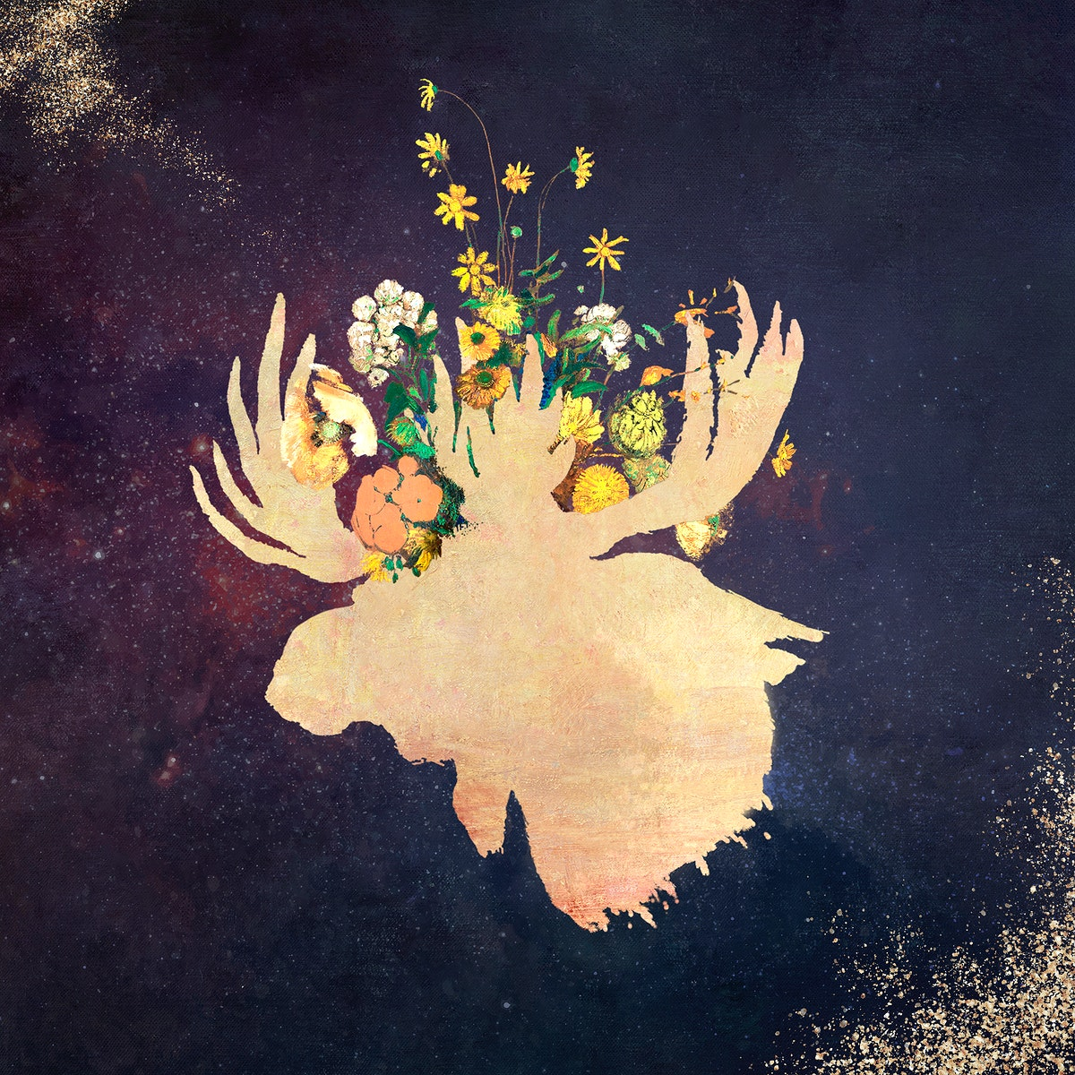 Moose head silhouette painting square background illustration