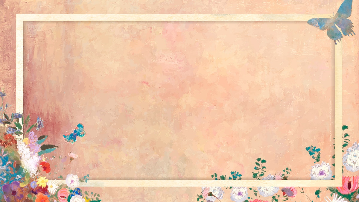 Gold frame with colorful botanical patterned background vector