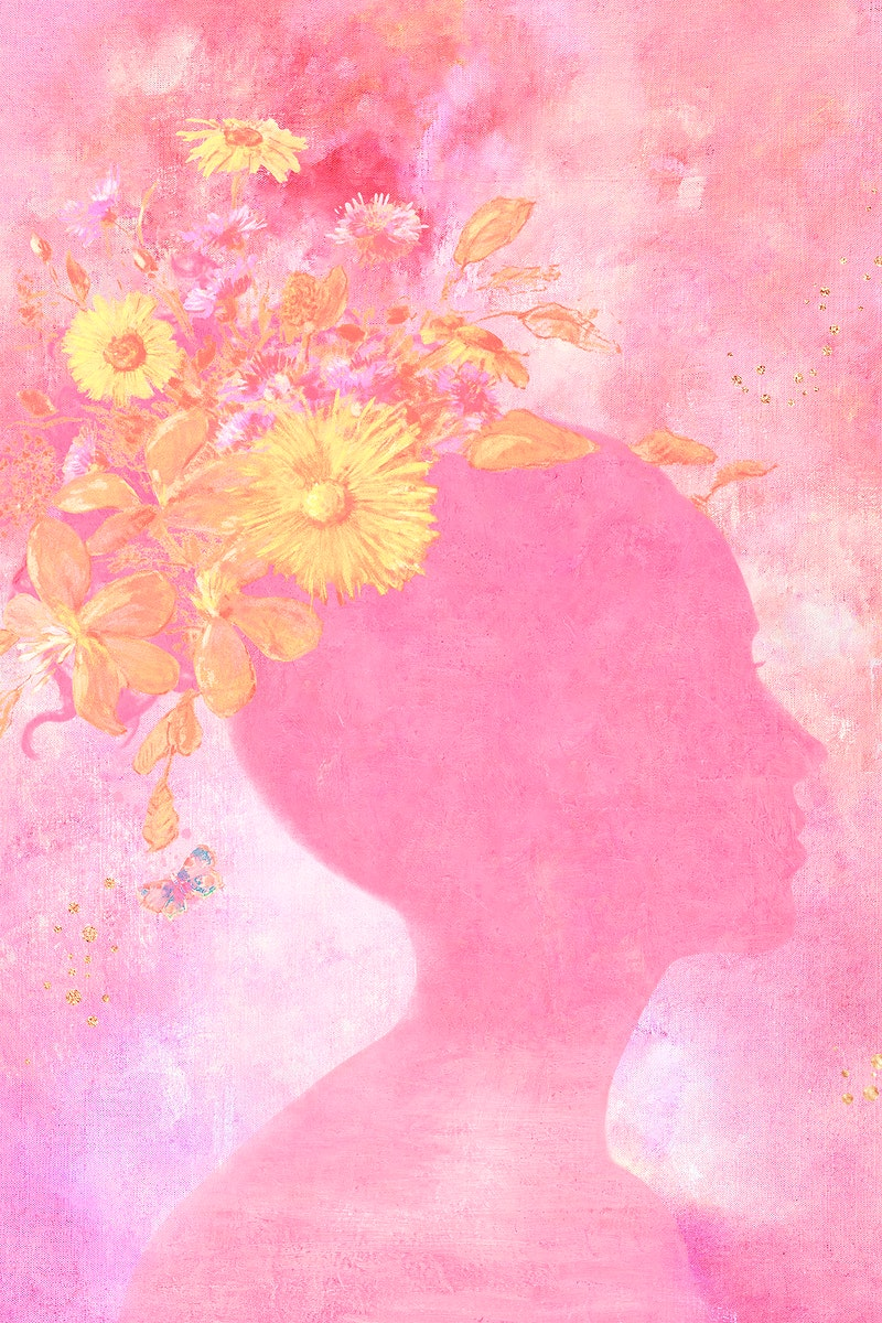 Woman shadow with flowers on pink painting background illustration
