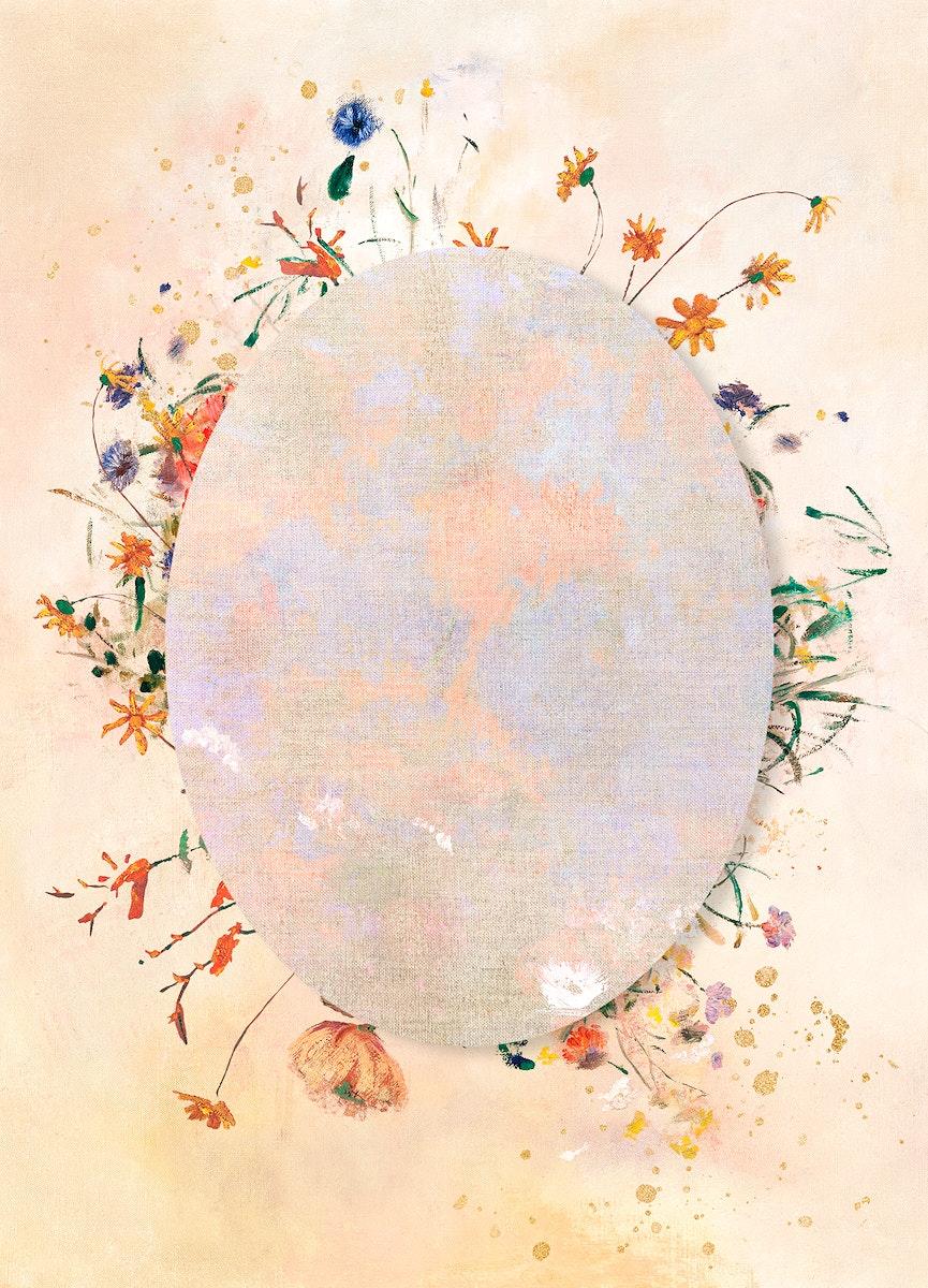 Oval frame with botanical patterned background illustration