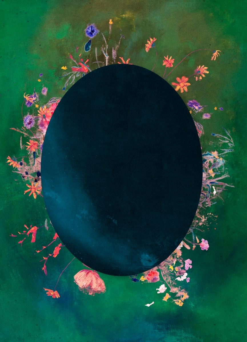 Oval blue frame with colorful botanical patterned on green background illustration