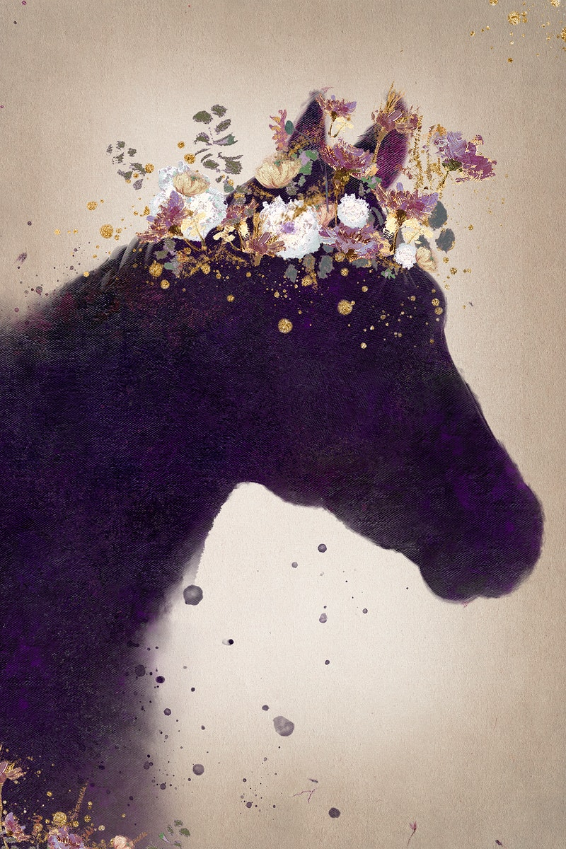 Horse head silhouette painting background illustration