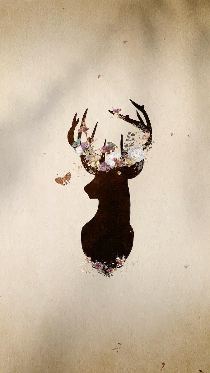 Deer head silhouette painting mobile phone wallpaper vector