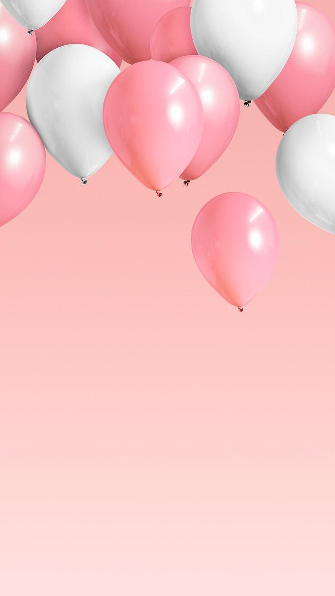 Festive pastel pink balloon mobile phone wallpaper