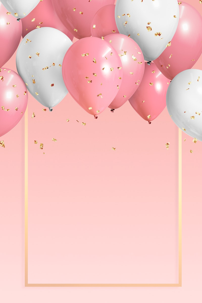 Golden frame balloons on a pink background