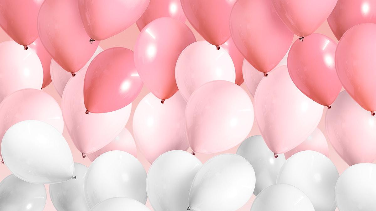 Festive pastel pink balloon wallpaper