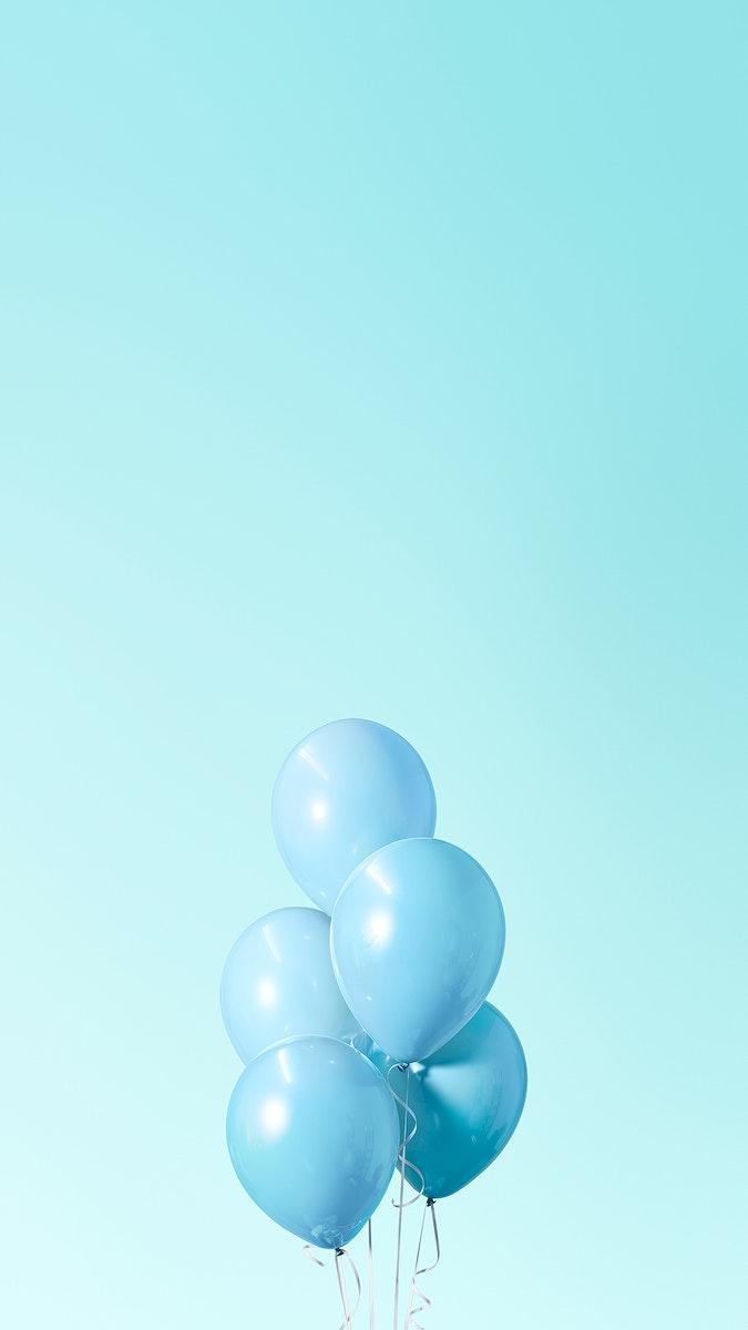 Pastel blue balloons mobile phone wallpaper