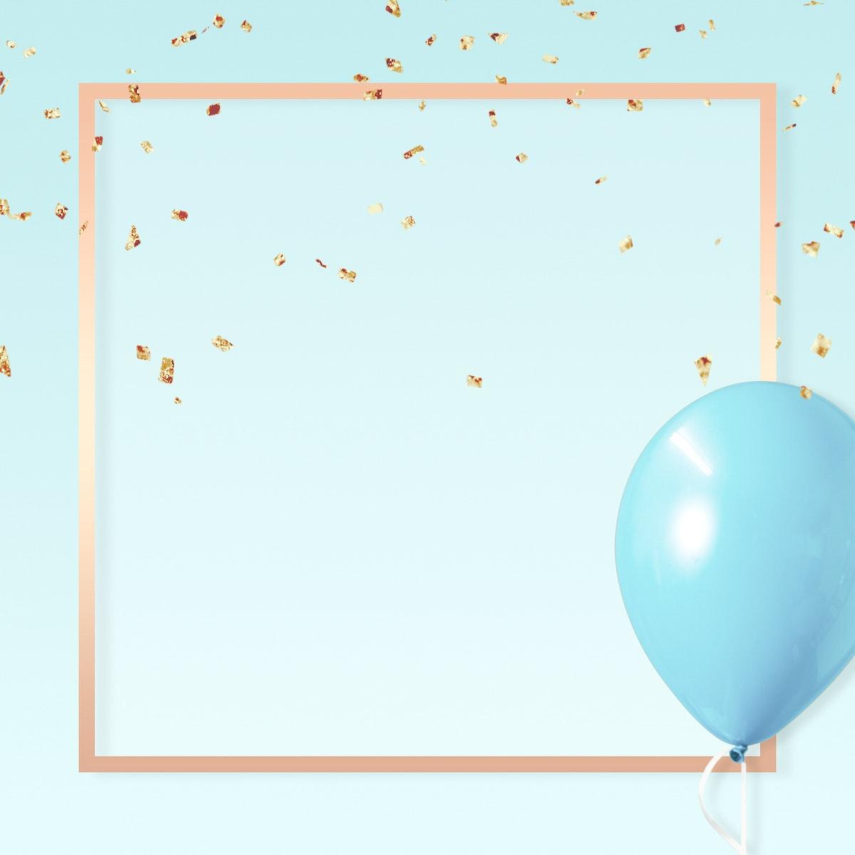 Pastel golden square blue frame