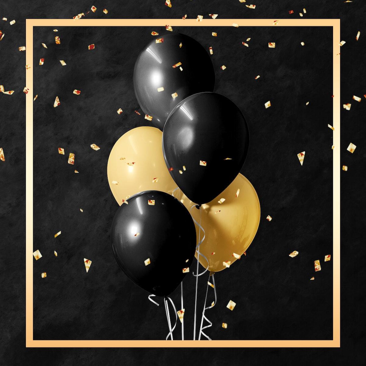 Golden square balloons frame design