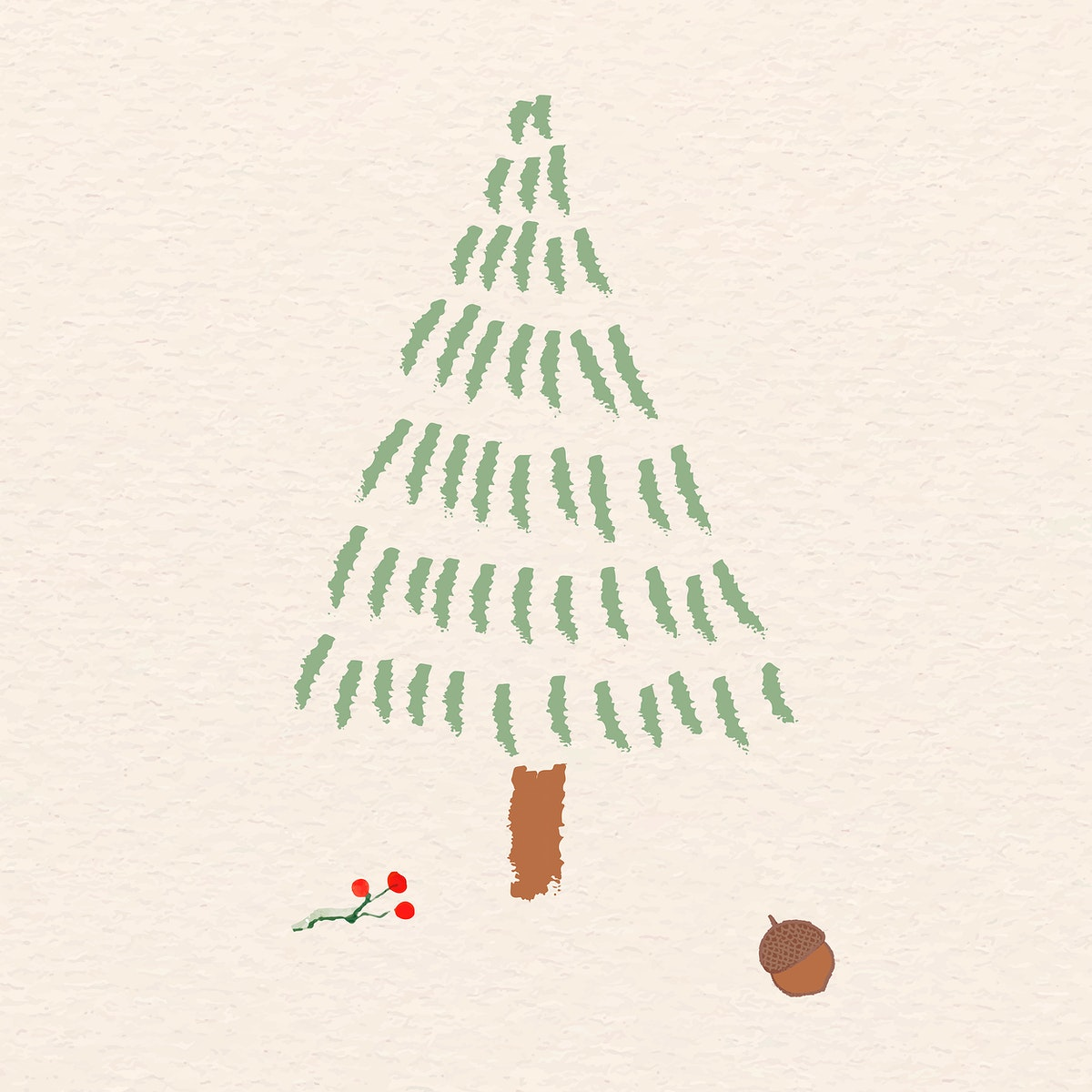 Christmas elements on beige background vector
