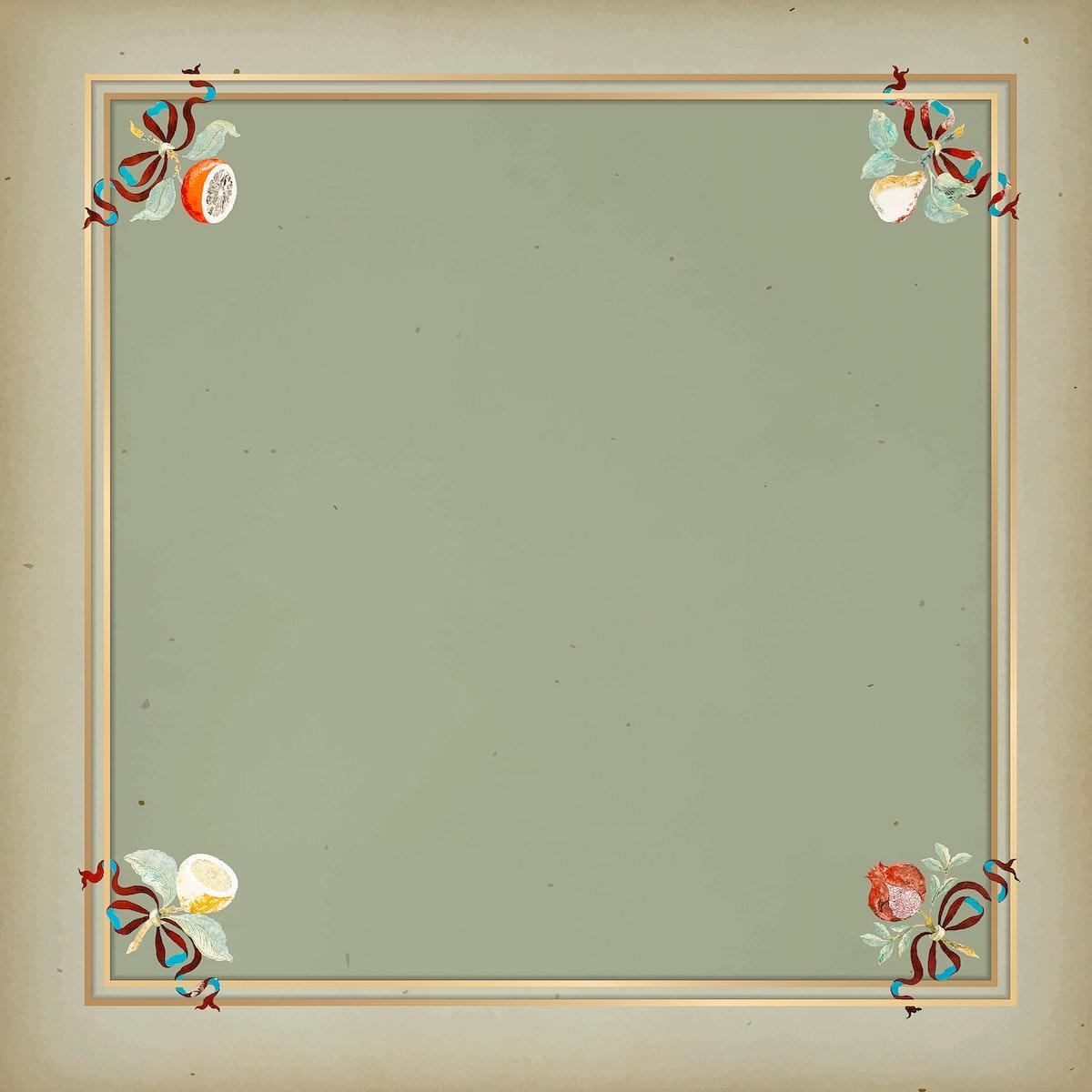 Gold frame on vintage green background template vector