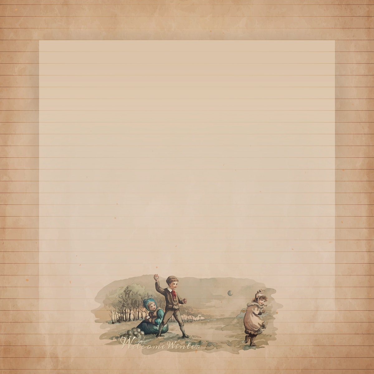 Frame on character patterned background template vector
