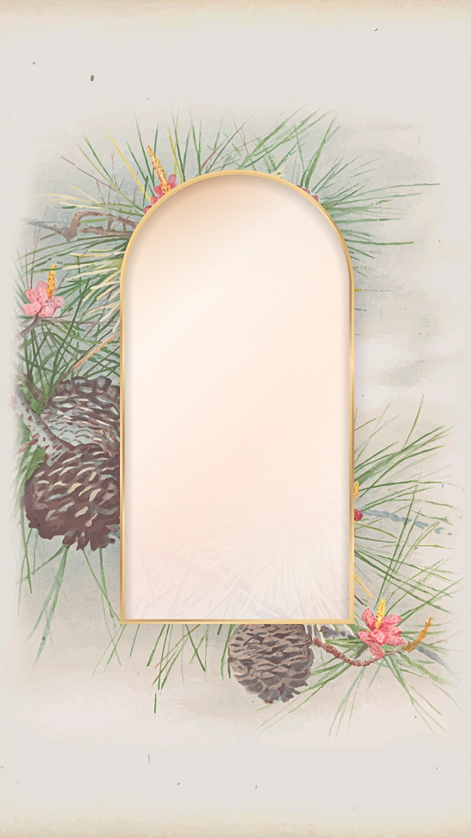 Arch gold frame on pine and conifer cone patterned mobile phone wallpaper vector