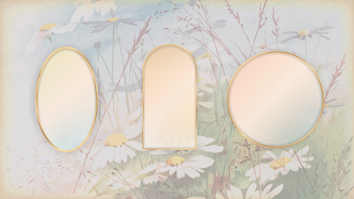 Gold frame on daisy patterned background template set vector