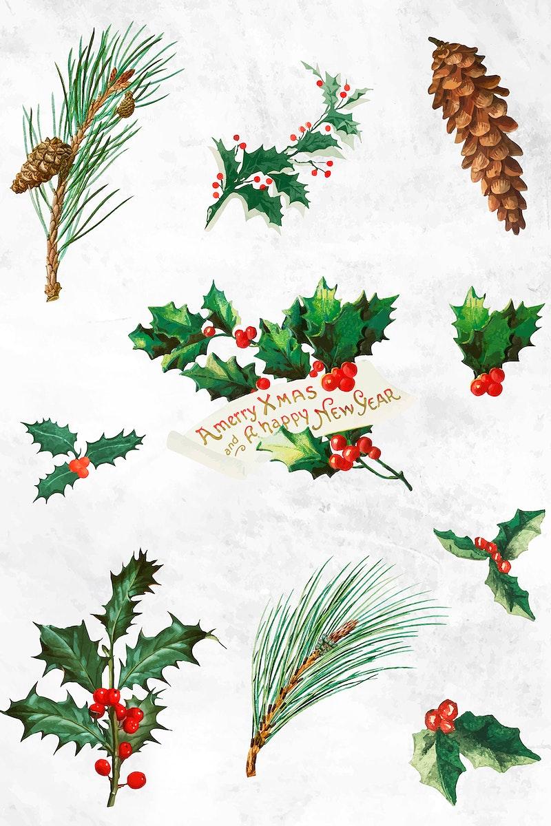 Festive merry Christmas design vector set