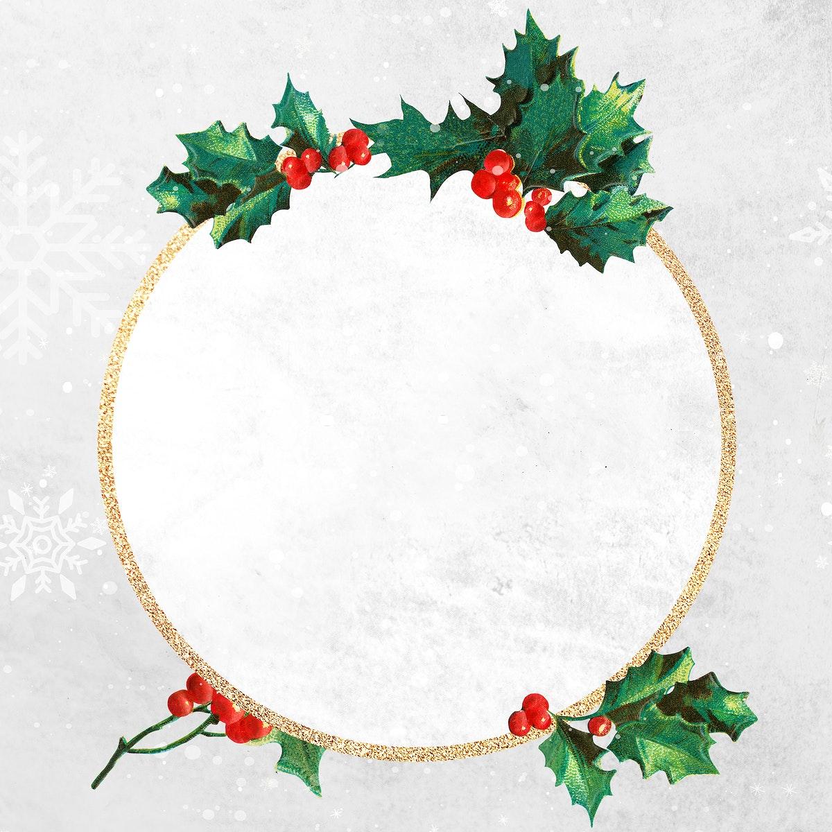 Blank round golden Christmas frame social ads template